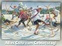 Alles Gute zum Geburtstag!    Antike Postkarte mit einem Motiv von Arthur Thiele (1860-1936)    Aus der Kategorie Geburtstagskarten für Wintersportler
