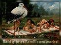 Bald gibt es Familienzuwachs!  Antike Postkarte mit einem Motiv von Arthur Thiele (1860-1936)
