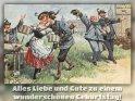 Alles Liebe und Gute zu einem wunderschönen Geburtstag!  Antike Postkarte mit einem Motiv von Arthur Thiele (1860-1936)