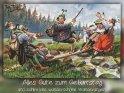 Alles Gute zum Geburtstag  und zahlreiche wunderschöne Wanderungen!  Antike Postkarte mit einem Motiv von Arthur Thiele (1860-1936)
