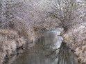 Die von reifbedeckten Bäumen gesäumte Leine kurz vor Göttingen.