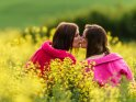 Zwei Freundinnen im Bademantel küssen sich in einem Rapsfeld    Dieses Motiv ist am 19.05.2017 neu in die Kategorie Pärchenfotos aufgenommen worden.