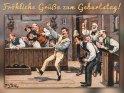 Fröhliche Grüße zum Geburtstag!    Antike Postkarte mit einem Motiv von Arthur Thiele (1860-1936)