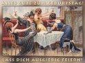 Alles Gute zum Geburtstag!  Lass dich ausgiebig feiern!    Antike Postkarte mit einem Motiv von Arthur Thiele (1860-1936)