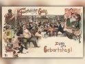 Feuchtfröhlichen Gruss zum Geburtstag!    Antike Postkarte mit einem Motiv von Arthur Thiele (1860-1936)