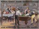 Alles Gute zum Geburtstag  und weiterhin viel Spaß am Queue!    Antike Postkarte mit einem Motiv von Arthur Thiele (1860-1936)