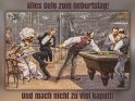 Alles Gute zum Geburtstag!  Und mach nicht zu viel kaputt!    Antike Postkarte mit einem Motiv von Arthur Thiele (1860-1936)    Dieses Kartenmotiv wurde am 28. Juli 2017 neu in die Kategorie Geburtstagskarten für Billiardspieler aufgenommen.