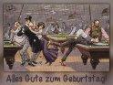 Alles Gute zum Geburtstag!    Antike Postkarte mit einem Motiv von Arthur Thiele (1860-1936)    Dieses Motiv ist am 20.07.2017 neu in die Kategorie Geburtstagskarten für Billiardspieler aufgenommen worden.