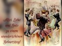 Alles Liebe und Gute zu einem wunderschönen Geburtstag!    Antike Postkarte mit einem Motiv von Arthur Thiele (1860-1936)    Dieses Motiv ist am 22.04.2018 neu in die Kategorie Geburtstagskarten für Tanzende aufgenommen worden.