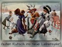 Guten Rutsch ins neue Lebensjahr!    Antike Postkarte mit einem Motiv von Arthur Thiele (1860-1936)    Dieses Motiv ist am 16.02.2018 neu in die Kategorie Geburtstagskarten für Wintersportler aufgenommen worden.