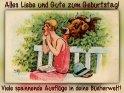 Alles Liebe und Gute zum Geburtstag!  Viele spannende Ausflüge in deine Bücherwelt!    Antike Postkarte mit einem Motiv von Arthur Thiele (1860-1936)
