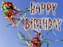 Fröhliche Karte : Happy Birthday mit Luftschlangen.